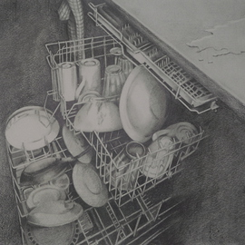 Nora Meyer Artwork Dirty Job, 2008 Pencil Drawing, Interior