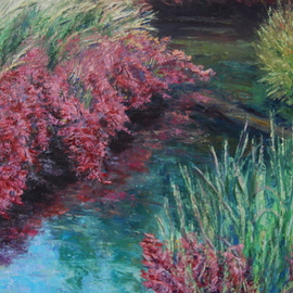 Norman Nelson: 'Huckleberry Grass', 2009 Oil Painting, Fauna. Artist Description:  Huckleberry plants in full fall colors are complimented by ajoining grasses beginning to change to brown. ...