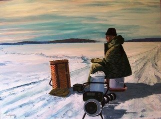 William Christopherson: '20th Century Ice Fisherman', 2009 Acrylic Painting, Landscape. This award winning major oil artwork of the artist captures ice fishing on an expansive frozen ice cover of New Yorks North Country. Eel Bay, among the Thousand Islands of the Saint Lawrence. Breathtaking in its winter remoteness, and natural beauty of the coldness. This fisherman is in his element. ...