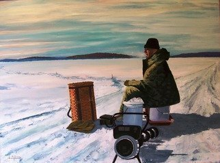 William Christopherson: '20th Century Ice fisherman', 2007 Oil Painting, Landscape. I completed this painting as a record of the days when the northern rivers were frozen solid in winter, and temperatures regularly fell 20 degrees below zero throughout winter in the Thousand Islands.  The experience of ice fishing, in the remote still solitude.  This is a large artwork, professionally framed ...