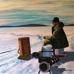 20th Century Ice fisherman By William Christopherson