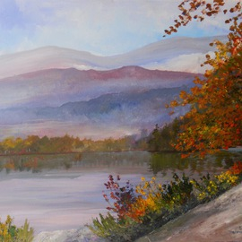 William Christopherson Artwork Adirondack High Peaks Heart Lake Canoeist , 2012 Oil Painting, Landscape
