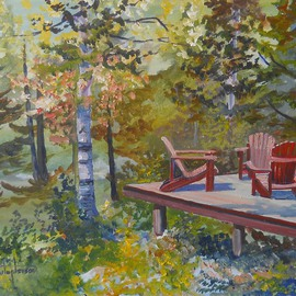 William Christopherson Artwork Adirondack Mountains Camp Summer Chairs Christopherson, 2012 Oil Painting, Landscape