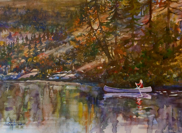William Christopherson  'Adirondack Mountains High Peaks Canoe ADK', created in 2013, Original Printmaking Monoprint.