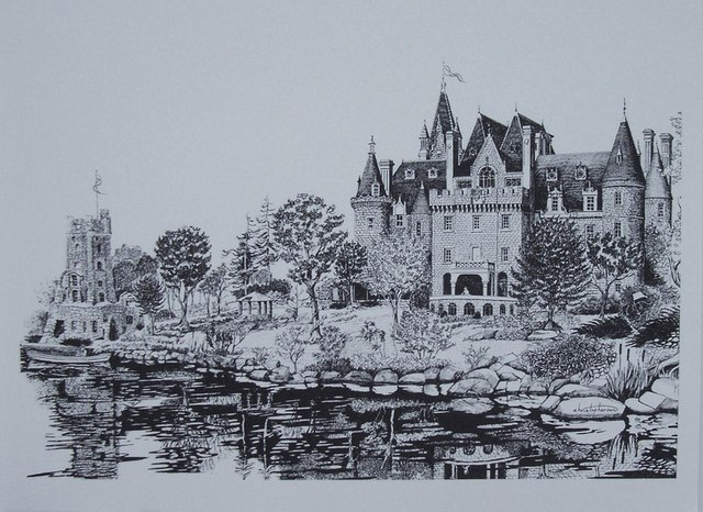 William Christopherson  'Boldt Castle Saint Lawrence Romance ', created in 1998, Original Printmaking Monoprint.