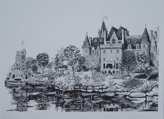 William Christopherson: 'Boldt Castle Saint Lawrence Romance ', 1998 , Romance.  The Captain of Her Heart.  20 x 28 full size giclee reproduction of pen  ink original.  Signed, numbered, and dated by the artist.  The lady of the castle awaits as her love rows his Saint Lawrence skiff to shore.  Impressionistic rendering of famous castle on Heart Island in the Thousand...