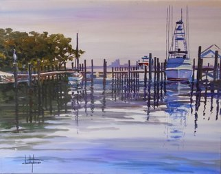 William Christopherson: 'Florida Ponce Inlet Boats Atlantic Coast Christopherson', 2014 Oil Painting, Seascape.      TITLE: