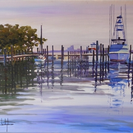 Florida Ponce Inlet Boats Atlantic Coast Christopherson painting By William Christopherson