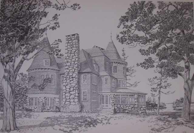 William Christopherson  'Keewaydin Mansion', created in 1994, Original Printmaking Monoprint.