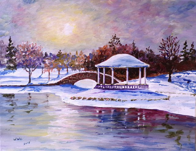 Artist William Christopherson. 'Syracuse Onondaga Park Winter Oil Canvas' Artwork Image, Created in 2015, Original Printmaking Monoprint. #art #artist
