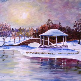 William Christopherson Artwork Syracuse Onondaga Park Winter Oil Canvas, 2015 Oil Painting, Landscape