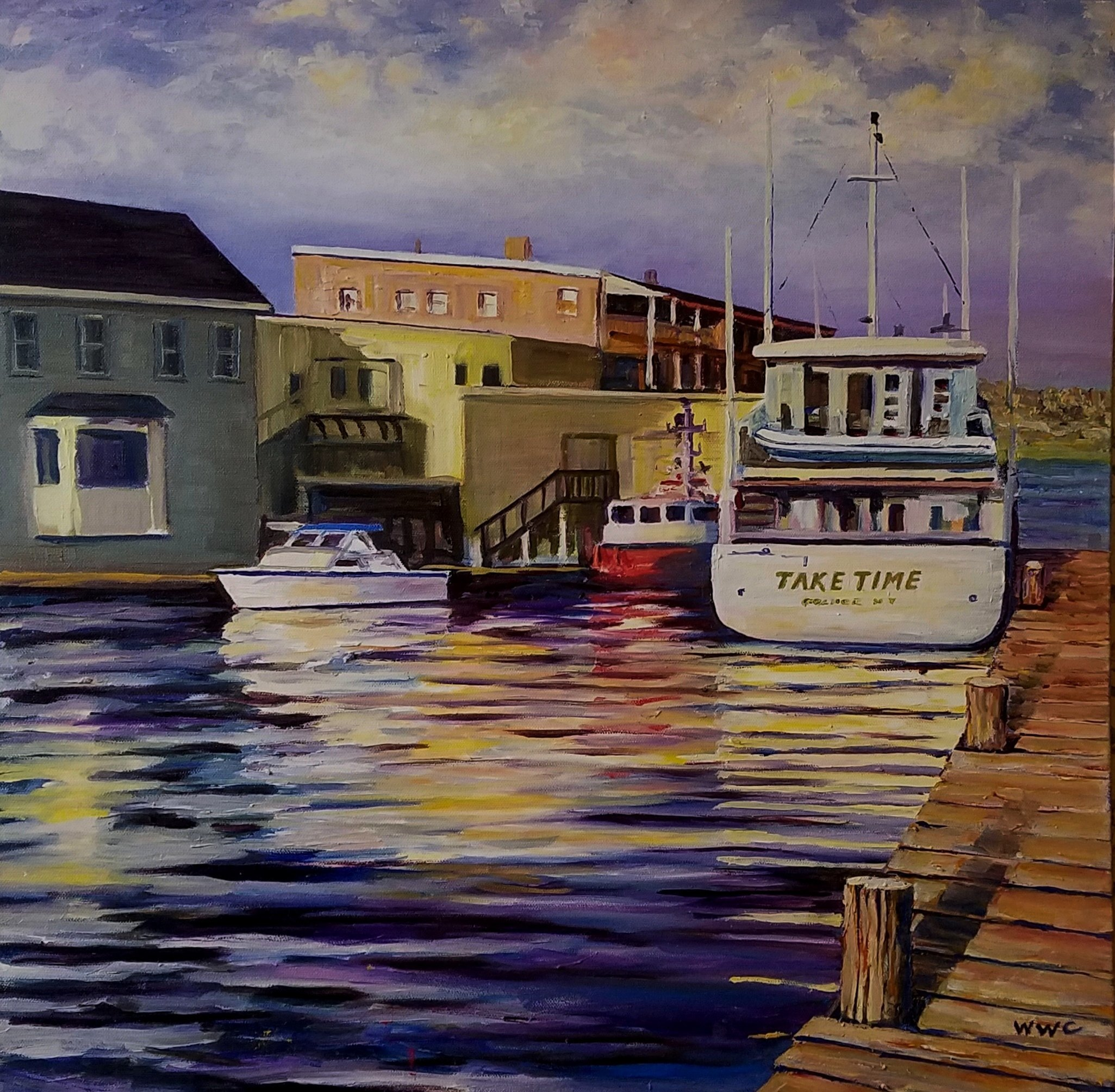 William Christopherson: 'dawn at clayton docks', 2019 Oil Painting, Landscape. A sunrise scene in the Thousand Islands of Upstate NY.  Remindfull of those important slower days to relax and enjoy the beauty of the earth.  Completed in Grumbacher oils, in hardwood professional floater frame.  Wall ready.  Award winning artwork at 2019 Along the Rivers Edge, TI Arts Center.  Ships UPS, ...
