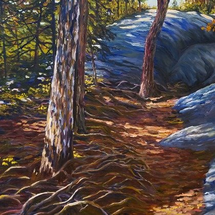 , On A Mountain Trail, Landscape, $2,835
