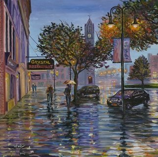 William Christopherson: 'october night', 2017 Giclee, Cityscape. Artist Description: Giclee printing on stretched canvas of original oil painting on a rainy october night in Watertown, NY.  Numbered, signed, and dated on back by the artist. ...