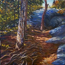 William Christopherson: 'on a mountain trail', 2016 Oil Painting, Landscape. Artist Description: Broad bruch approach in oil of the Adirondack hiking experience. ...