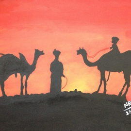 Neha Shah Artwork a man on the camel, 2013 Acrylic Painting, Other