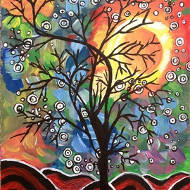 Neha Shah Artwork a tree in the evening, 2013 Acrylic Painting, Other
