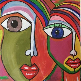 Neha Shah Artwork colorful boy and girl, 2013 Acrylic Painting, Other