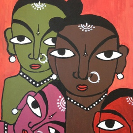 Neha Shah Artwork four colourful ladies, 2013 Acrylic Painting, Other
