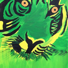 Neha Shah Artwork green tiger, 2013 Acrylic Painting, Other