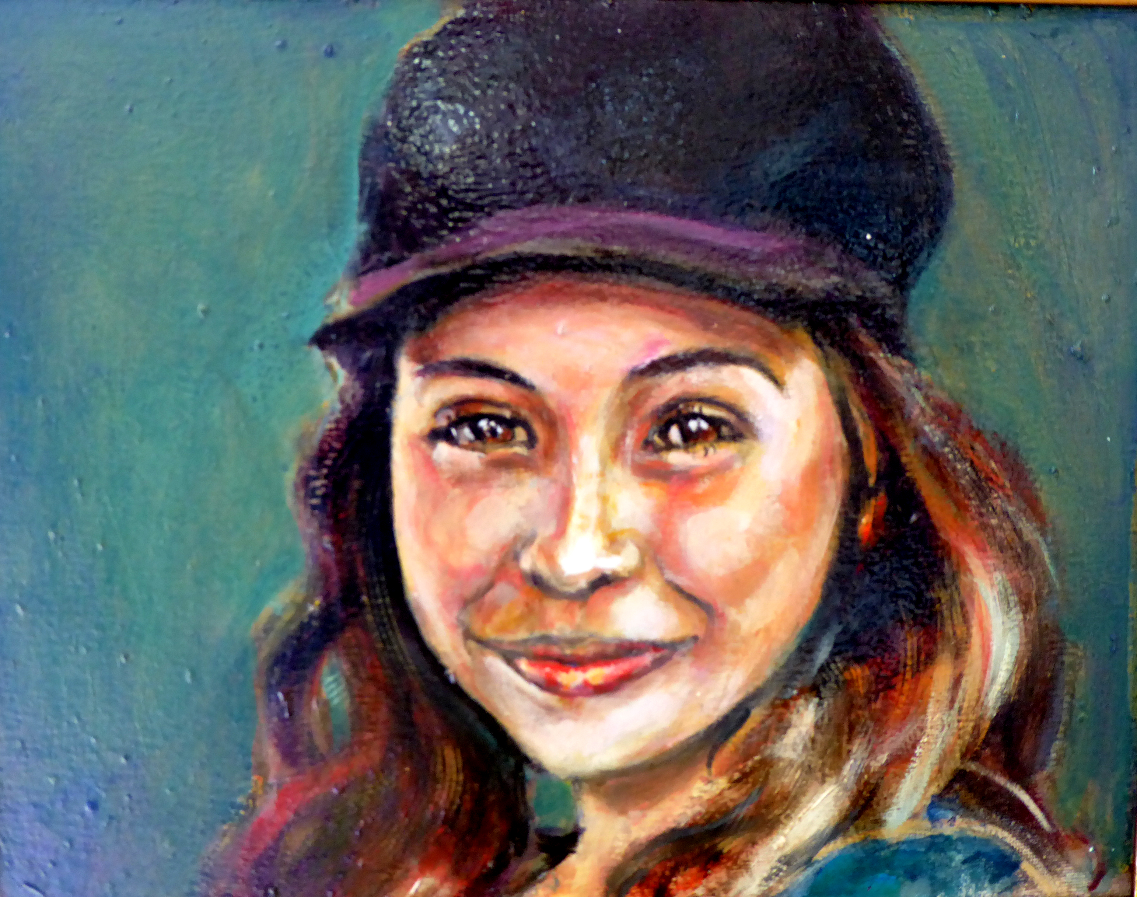 Renuka Pillai: 'Smile', 2018 Oil Painting, Beauty.  Portrait of a young girl at a fair in Indio, CAportrait, profile blonde, beauty...