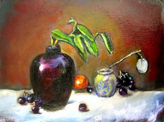 Renuka Pillai: 'Still Life with Black Jar', 2010 Oil Painting, Beauty.