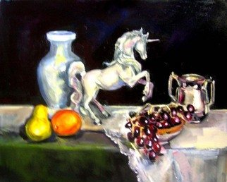 Renuka Pillai: 'Still life with Unicorn', 2010 Oil Painting, Beauty. Artist Description:  Still Life Study...