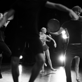 Yulia Nak: 'dance with a tambourine', 2016 Black and White Photograph, Dance. Artist Description: Dance, black white, theater...