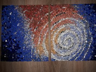 Natalija Zabav: 'birth one two', 2018 Mosaic, Space. this mosaic is made from very small pieces of mosaic glass, smalti, mirror.  It s not framed, nor is it ready to hang on the wall.  The picture frame as well as the frame is available to the customer s wishes.  The mosaic represents the birth of the galaxy, life.  ...