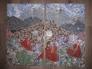 Natalija Zabav: 'for the seven mountains', 2018 Mosaic, Landscape. Artist Description: This picture is made up of two parts. Together, they make up one.It is called  For seven mountains .It shows the flowers enriched with landscape and in the distance of the hills and mountainsMeasurements : 48 cm x30 cm each   - together - 48 x 60 cmmeasurements : 18, ...