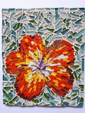 Natalija Zabav: 'hybiscus', 2017 Mosaic, Floral. Artist Description: This small Picture is made of very small pieces of mosaic glass and italian smalti in orange, yellow, green, blue white and pink.Not framed, ready to hang on the wallSize - 15cm x18 cmDuring the process of creation, I was interested in how to catch the ...