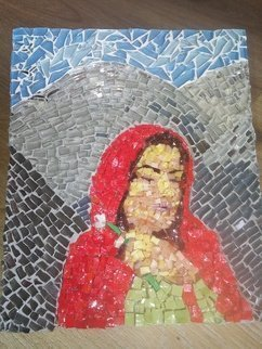 Natalija Zabav: 'marija magdalena', 2018 Mosaic, Christian. Artist Description: This mosaic image of St. Mary Magdalene was inspired in a dream. I woke up with the idea that I needed to do exactly this kind of picture. I saw her all proudly and glowing in front of me. For she is the one who loved and was ...