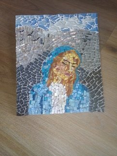 Natalija Zabav: 'mother mary', 2018 Mosaic, Christian. Artist Description: This beautiful mosaic picture depicts Virgin Mary at the moment she learned that she was chosen for the mother.In it, I recognized fear and panic, as well as the nonsense. Being a mother is not an easy task and I believe she was wondering if it is ...