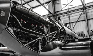 Des Byrne: 'Spitfire', 2015 Color Photograph, Airplanes. Artist Description:  Spitfire being serviced, airplane, aeroplane world war 2 ww2 wwII classic vintage ...