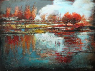Acrylic Painting by Oleg Danilyants titled: LANDSCAPE with GRAY SKY, 2012