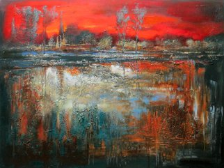 Acrylic Painting by Oleg Danilyants titled: LANDSCAPE with RED SKY, 2012