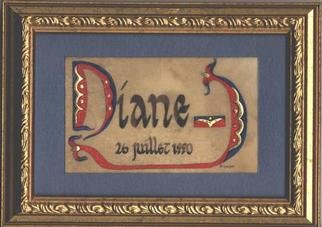 Florence Bremond: 'Diane ', 2001 , Children. Illumination on parchment 23 k raised gold leaf - tempera . Can be ordered with any first name as a birth gift for instance. ...