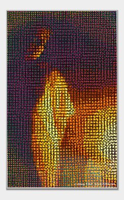 Oleg Filin: 'candle light', 2008 Mixed Media, Meditation. Image of the girl in candle light flares. ...