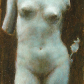 Ron Ogle: 'Aphrodite I ', 2006 Oil Painting, Nudes. Artist Description: Oil on panel. [ based on a black and white photograph of a Roman { marble } copy of a Greek { marble] statue. The English scholar Kenneth Clark considered the original sculptor of this work to be' . . . an individual artist who  must be reckoned the creator of THE FEMALE NUDE. [ KENNETH ...