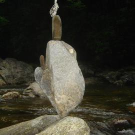 Ron Ogle: 'Balanced Rock Number  389', 2005 Color Photograph, Culture. Artist Description:  Zoom in. All I can figure is that my practice at balancing stones found along side that creek has resulted in me being able to balance them. Unless it is raining. ...