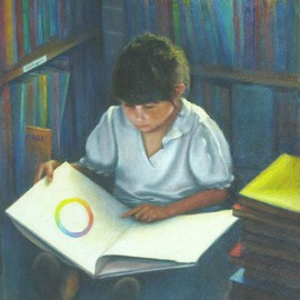 Ron Ogle Artwork Girl Reading, 2002 Oil Painting, Education