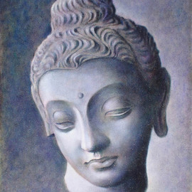 Ron Ogle Artwork Head of Buddha, 2008 Oil Painting, Buddhism