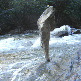 Ron Ogle: 'Herakles', 2005 Color Photograph, Mythology. Artist Description:  Large stone is 22 inches tall. Two weeks after I balanced it and photographed it,  I went back  and found it in the creek  and measured it.  I' ve lived here almost 20 years and have met two guys in town who can balance stones every dang ...