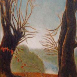 Ron Ogle: 'Venus de Miloscape', 1996 Oil Painting, Mythology. Artist Description: She appears, betwixt the trees. Based on the actual view from Diane' s driveway way up on the ridge overlooking the French Broad River which flows down there, a bit downstream from  Marshall, North Carolina, one sunlit afternoon in 1990. Most of the horizontal branches are poison ivy. ...