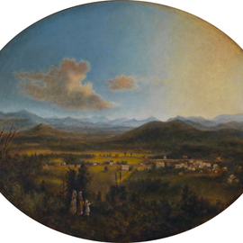 Ron Ogle: '  VIEW OF ASHEVILLE in 1850', 2015 Oil Painting, History. Artist Description:  My oil on panel copy of Robert S. Duncansons VIEW OF ASHEVILLE, 1850 ...