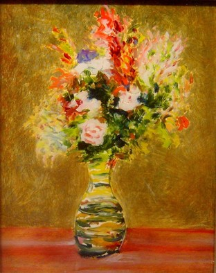 Ron Ogle Artwork still life on glass, 1997 Oil Painting, Floral