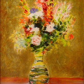 Ron Ogle: 'still life on glass', 1997 Oil Painting, Floral. Artist Description:  Based on a painting by Renoir. Oil on glass. It is painted on the back side of the glass. You can see where I drew with the tail end of my brush into the still wet paint. Framed. Zoom in. ...