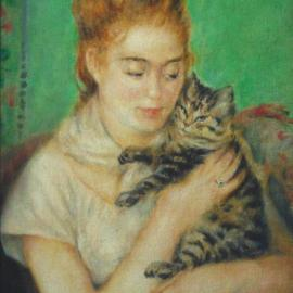 Ron Ogle: 'young lady with cat       after Renoir ', 2001 Oil Painting, Cats. Artist Description: An exact copy I made of Renoirs 1886 painting, Young Lady With a Cat which hangs in the National Gallery of Art, in Washington, D. C. By copying great paintings I can apprentice myself to masters of painting.  This experience introduced me to viridian green oil paint, and ...