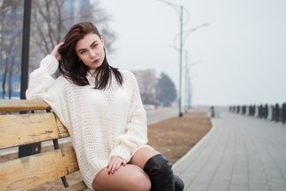 Ivan Krivenko: 'sexy brunette girl', 2018 Digital Photograph, Portrait. Artist Description: sexy, brunette, girl, caucasian, white, sweater, jacket, posing, cute, attractive, spring, autumn, street, wind, hot, young, woman, fashion...