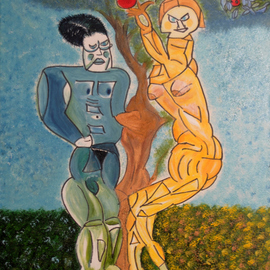 Obert Fittje Artwork Adam and Eve Cubic, 2010 Oil Painting, Religious
